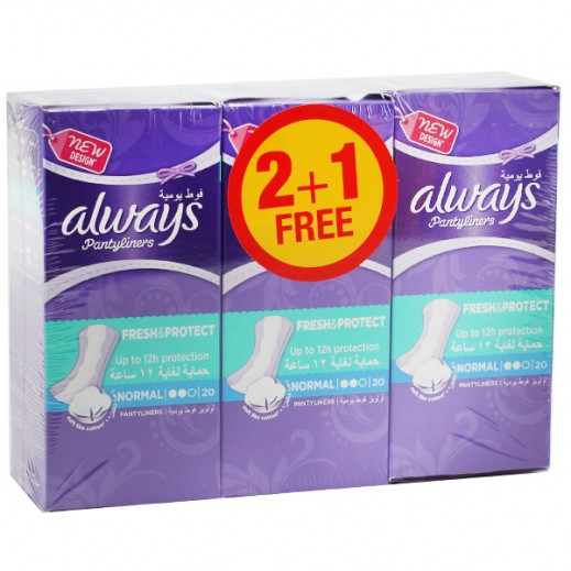 Always Regular Panty Liner Normal (2+1 Free) 3X20 Pcs Prom