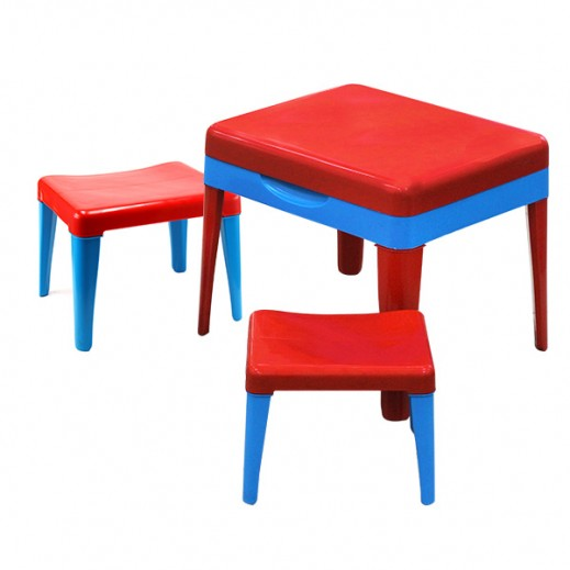 Progarden Kiddy Italian Table With Stool Set + Bamboo Fibre Kids Set Free (Assorted Color)