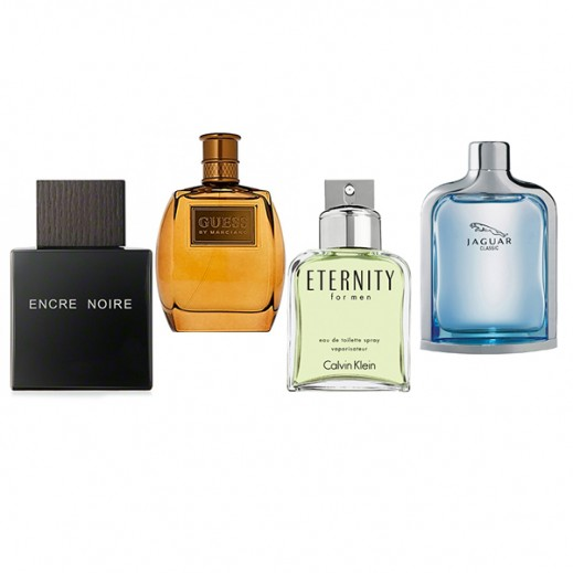 Set Of 4 Perfumes For Men (Lalique Encre Noir + Guess Marciano + Calvin Klein Eternity + Jaguar Classic Blue)