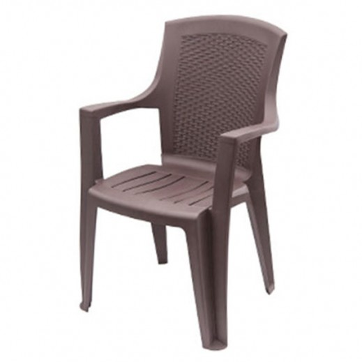 Progarden Plastic Chair with Arm Rest – Brown