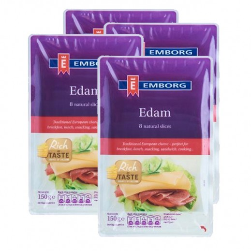 Value Pack - Emborg Edam Cheese Slice 150 g (4 Pieces)