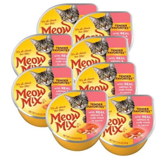 Meow Mix Salmon & Crab Meat (Cat Food) 78 g (8 Pieces)