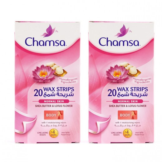 VP-Chamsa Shea Butter & Lotus Flower Body Wax Strips Normal 20 Strips (2 Pieces)