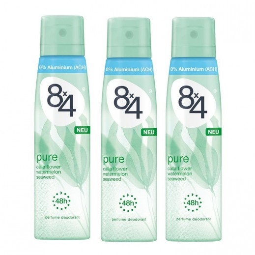 8X4 Women Pure Deo Spray 150 ml 2+1 Free Prom