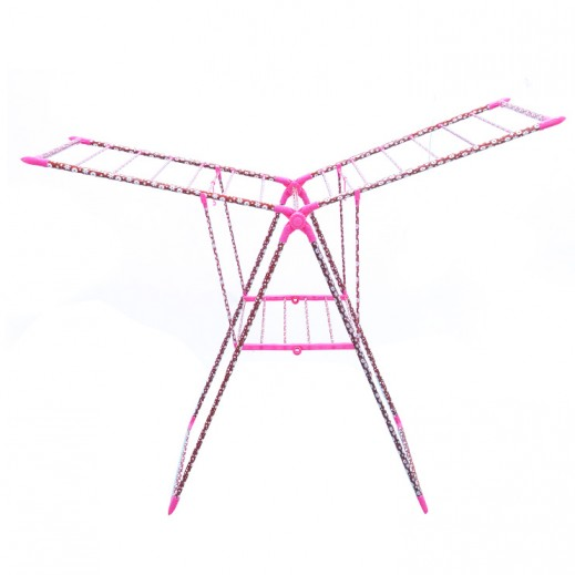 Stainless Steel (Flower Desigen) Clothes Dryer - Pink (58x75x100 cm)