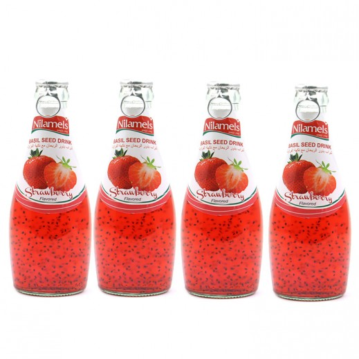 Valuepack - Nilamels Strawberry Flavored Basil Seed Drink 290 ml (4 Pieces)