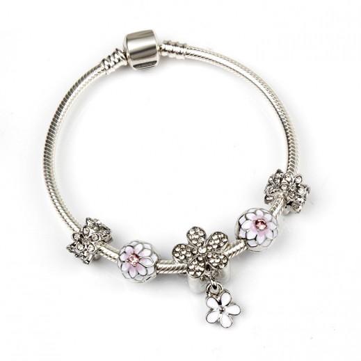 Homhul Trendy Magnolia Beaded Charm Bracelet 20 cm