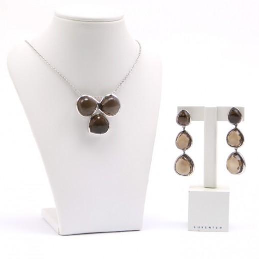 Luxenter Smokey Quartz Jewellery Set