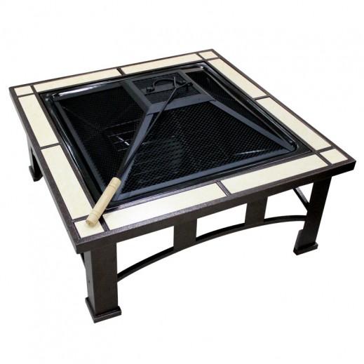 Metallic Tiled Fire Pit 74x74x42.5 cm