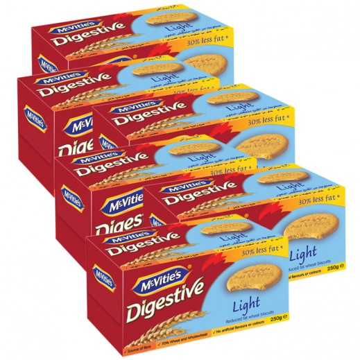 Mc Vities Light Digestive Biscuits 6 x 250 g