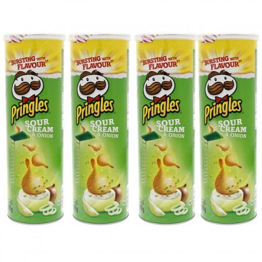 Value Pack - Pringles Sour Cream Onion Potato Chips 4x165 g