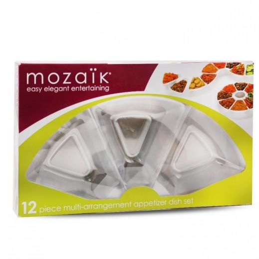 Mozaik Sabert Appetizer Dish Set Transparent - 12 Pieces