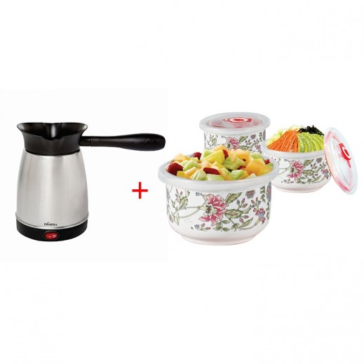 Primera Turkish Coffee Maker + 3 Bowls Set with Lid