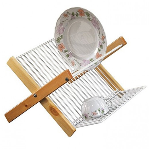 Metaltex Lilly Dish Rack with Wooden Frame (Italy)