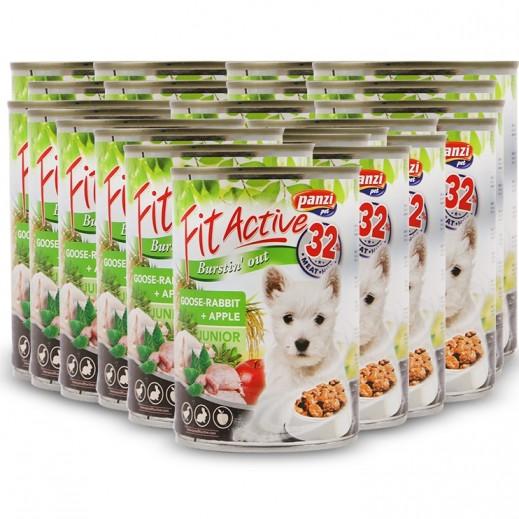 Wholesale – Panzi Fit Active Goose Rabbit + Apple For Junior Dog 415 g (24 Pieces)