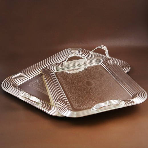 ASC Silver plated Serving Tray Set with Handle - 2 Pieces