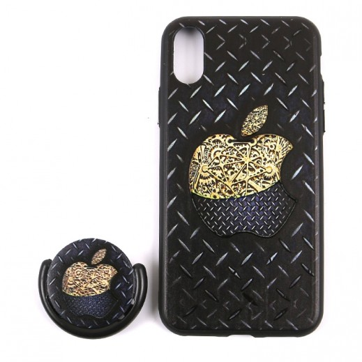 Boter 3 in 1 Fashion Case & Holder for iPhone X – Black & Gold design