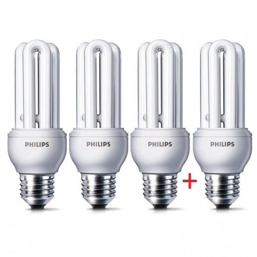 Philips Eco home Bulb Cool daylight 18W E27 6500K 3+1 Free