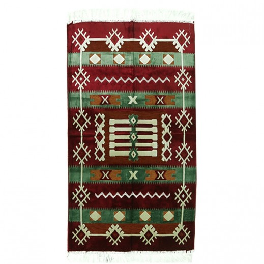Prayer Mat with Sadu Design - Maroon