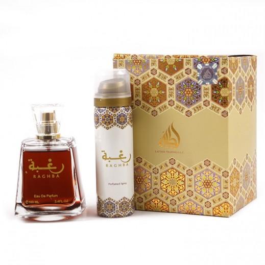 Lattafa Raghba For Unisex EDP 100 ml + Raghba Deodorant 50 ml (free)