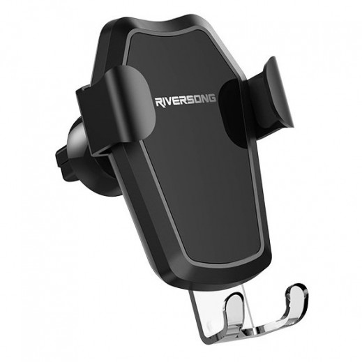 Riversong Power Clip 2 in 1 wireless charger & Phone Holder - Black