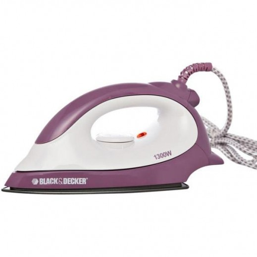Black & Decker Dry Iron 1300W - White & Purple