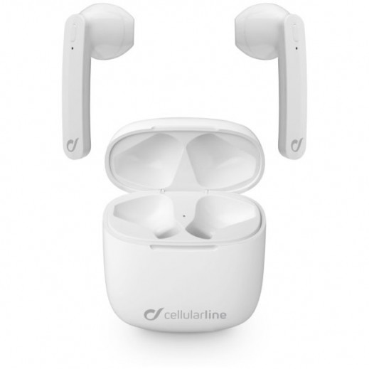 Cellularline Aries Wireless Earphones with Charging Case - White