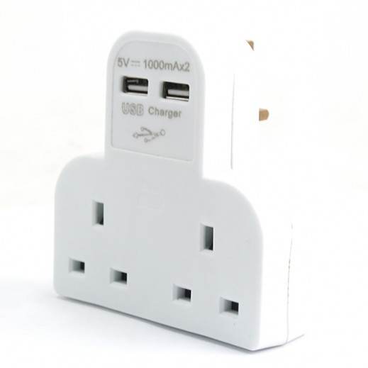 Eastern 2 Way Wall Mount Extension with 2 USB Port 2A– White