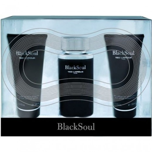 Ted Lapidus Black Soul Gift Set For Him EDT 100 ml + After Shave Balm 100 ml + Shampoo 100 ml