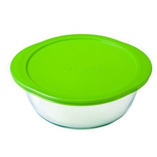 Pyrex Cook & Store Round Dish With Green Lid 0.35 L