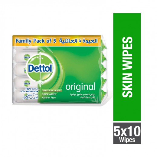 Dettol Original Anti-Bacterial Alcohol Free Skin Wipes (5 pcs x 10 wipes)