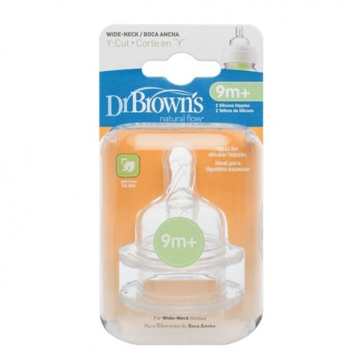Dr.Brown's Y Cut Wide Neck Silicone Nipple 2 Pieces 9+ Months