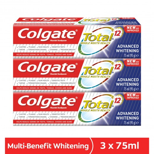 Colgate Total Advanced Whitening Toothpaste 3 x 75 ml
