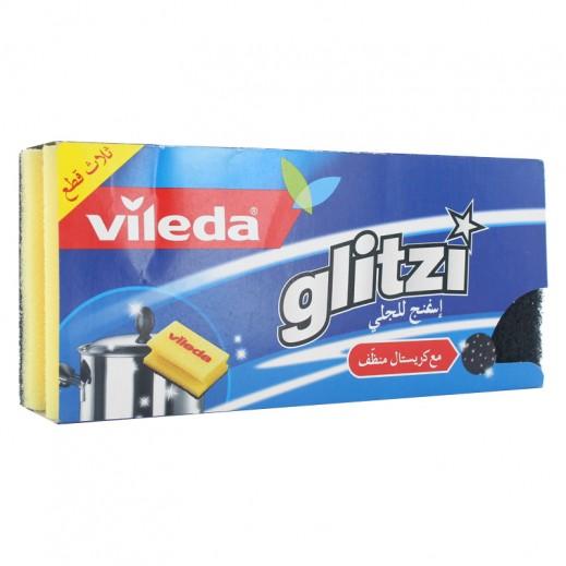 Vileda Glitzi Sponge Scourer 3 pieces