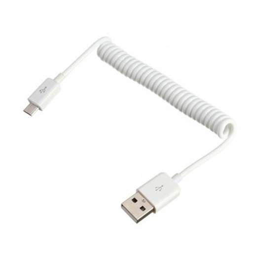 Sadad Flexible Spring Micro USB Cable White
