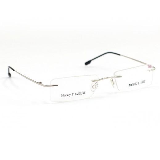 Memory Titanium Frame Eyeglasses Moon Light Rimless Silver/Black