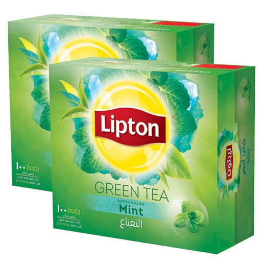 Lipton Green Tea Mint 2 x 100 Tea Bags
