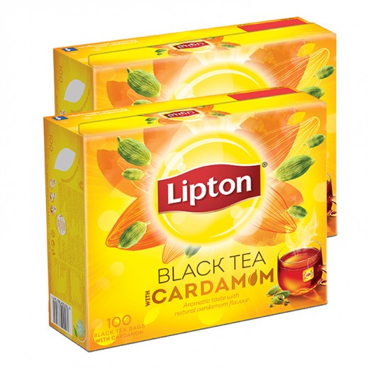 Wholesale - Lipton Flavoured Black with Cardamom Tea 100 Bags (2 Pieces)
