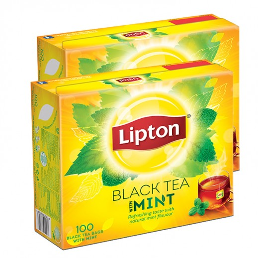Lipton Flavoured Black Tea Mint, 2 x 100 Teabags