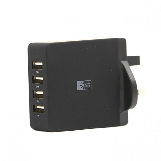 Case Logic 4-Port USB Wall Charger - Black
