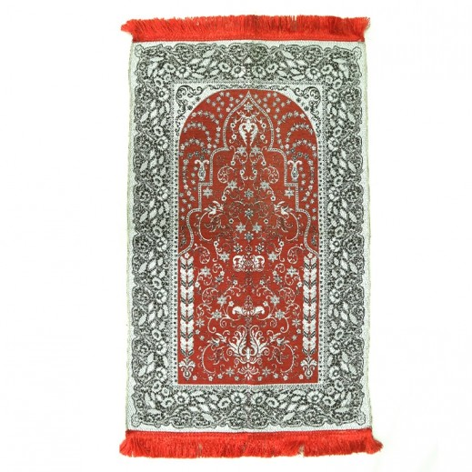 Prayer Mat with Flower Design - Red