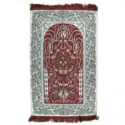 Prayer Mat with Flower Design - Maroon