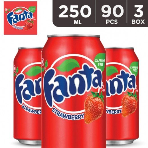 Wholesale - Fanta Strawberry Can 250 ml (3 x 30 pieces)