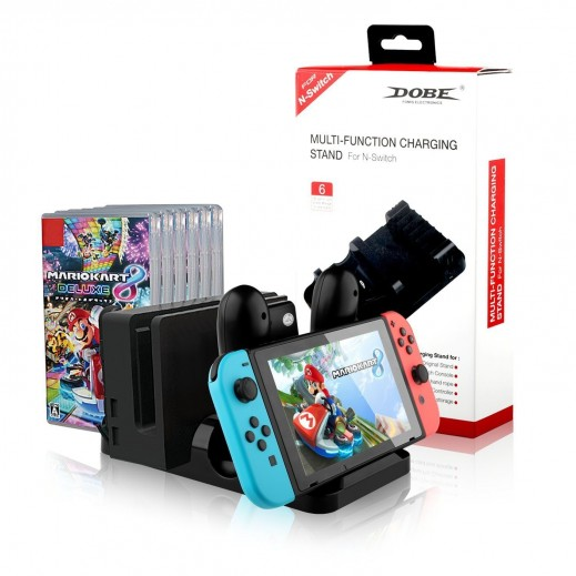 Dobe Multi-Function Charging Stand for Nintendo Switch, Game Cards and Controllers - Black