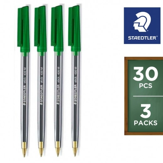 Vlaue Pack - Staedtler Stick 430 Ballpoint Pen 10 pieces - Green (3 pieces)