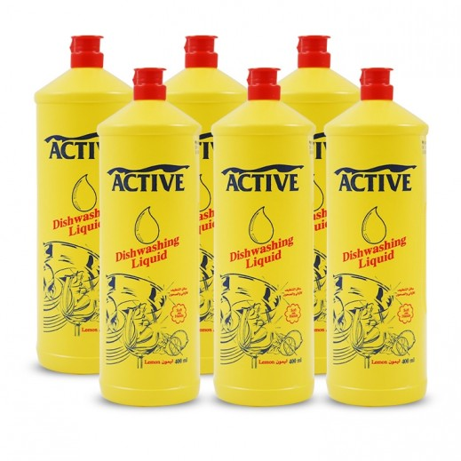 Active Dishwash Liquid Lemon 6 x 400 ml