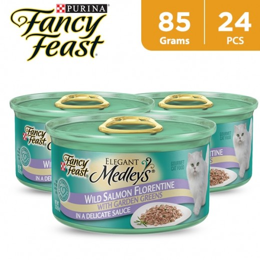 Fancy Feast Wild Salmon Florentine 85 g (24 Pieces)