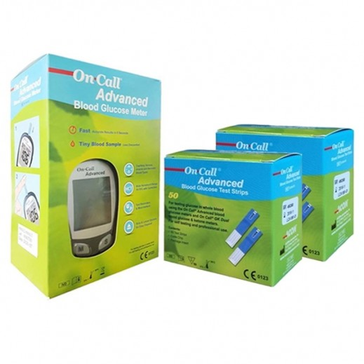 On Call Advanced Glucometer + Strips 100 Pieces