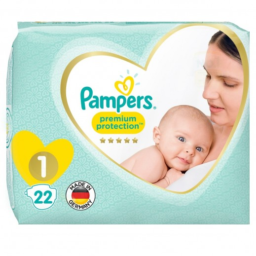 Pampers Premium Care Protection Diapers Size 1 Carry Pack 22 Pieces
