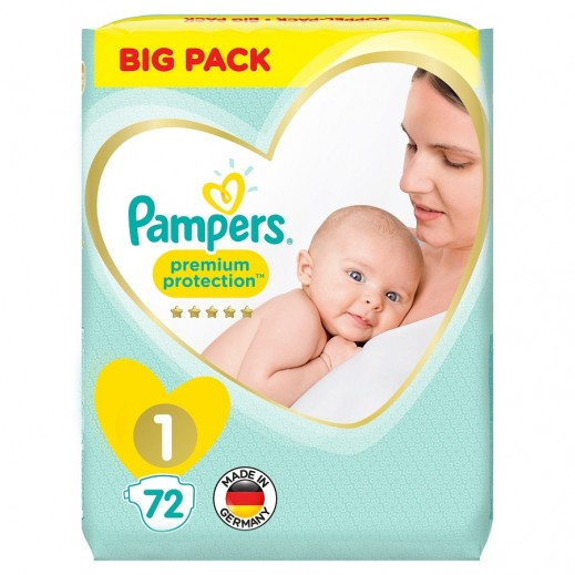 Pampers Premium Care Protection Diapers Size 1 Jumbo Pack 72 Pieces